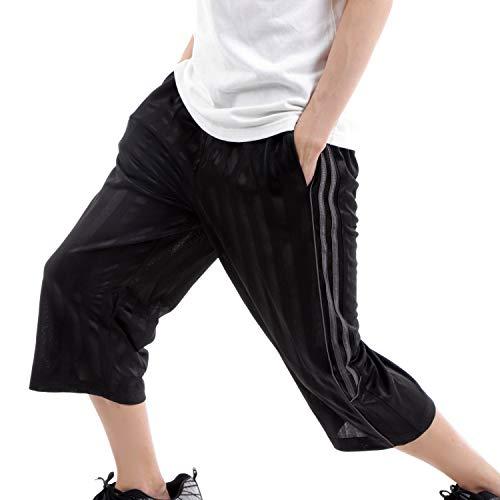 [デルレオーネ] ジャージ メンズ 下 スボン 7分丈 サイドライン スポーツ ハーフパンツ 吸汗速乾 (ブラック×チャコール, 3L)
