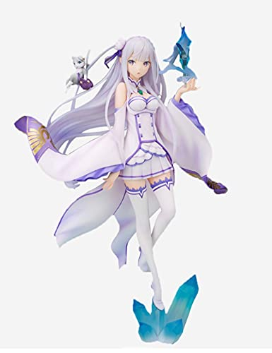 Emilia Figure Re: Cero Empranando la vida en otro mundo Permanece el ánimo de cristal Anime Popular Animación PVC modelo de PVC Boxed Estatua de regalo 10.2 pulgadas Estatua Juguetes Muñeca para los f