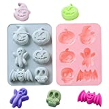 Luckycivia 2 Packs Halloween Silicone Baking Molds, Candy Cake Mold with Pumpkin Bat Skull Ghost Shape, Silicone Baking Mold Making Kit for Kids, Baking Accessories for Halloween Party