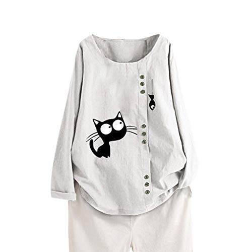 Mujeres Casual Tallas Grandes Estampado Gato Manga Larga Botón Túnica Camiseta Blusa Tops