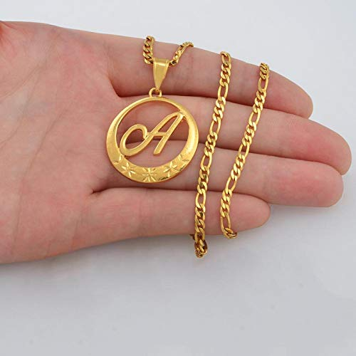 WH MaiYY Gold Color Cursive Letters Pendant Necklaces Women Initial Chain Necklace English Letter Hawaiian #135006P