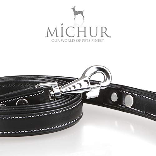 MICHUR Classica Leine, Hundeleine Leder, Lederleine Hund, PASSEND ZUM Halsband Classica, Schwarz,...