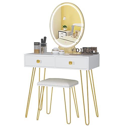 Vlsrka Tocador Bella blanco con espejo, cajón y estantes, dormitorio o habitación juvenil, ideal para mujeres y adolescentes