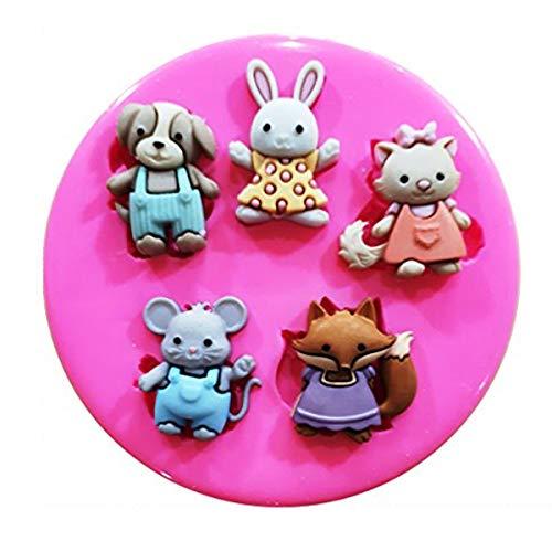 Jardín Buddies Perro Gato Conejo Ratón Fox molde de silicona para decoración de dulces para tartas forma de personajes de Frozen