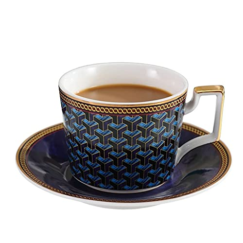 DZX Reusable European/English tea cups Ceramic Coffee Cup with Spoon and Saucer Three-piece, 210 Ml Afternoon Tea Restaurant Household Tea Cup Water Cup, Blue, Red Optional
