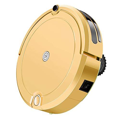 H.L Robot Aspirador con Alta Potencia de aspiración con depósito de Agua automáticamente planeado Camino de Limpieza con Control Remoto de Infrarrojos (Oro)