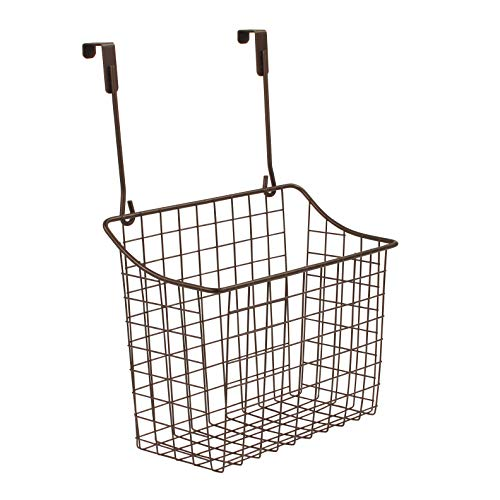 Spectrum Diversified Grid Storage Basket, Over The Cabinet, Steel Wire Sink Organization for Kitchen & Bathroom, Large, Bronze