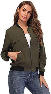 Women's Bomber Jacket Lightweight Long Sleeves Zip up Casual Outerwear Windbreaker w Pockets