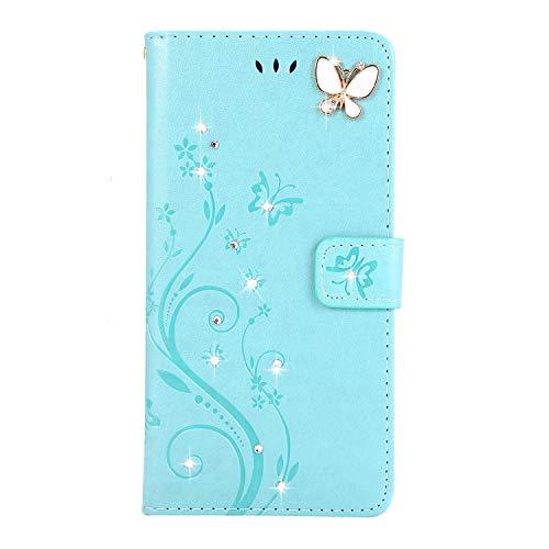 Homikon PU Leder Hülle Retro Schön Schmetterling Blume Schutzhülle für Mädchen Brieftasche Ledertasche Bling Glänzend Glitzer Diamant Handyhülle Etui Kompatibel mit Samsung Galaxy A51 - Grün