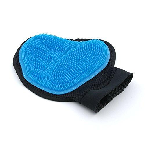 SuperDesign Pflegehandschuh Fuer Haustiere als Fanghandschuh, Haarentfernung und Badhandschuh, Blau, EINWEG Verpackung