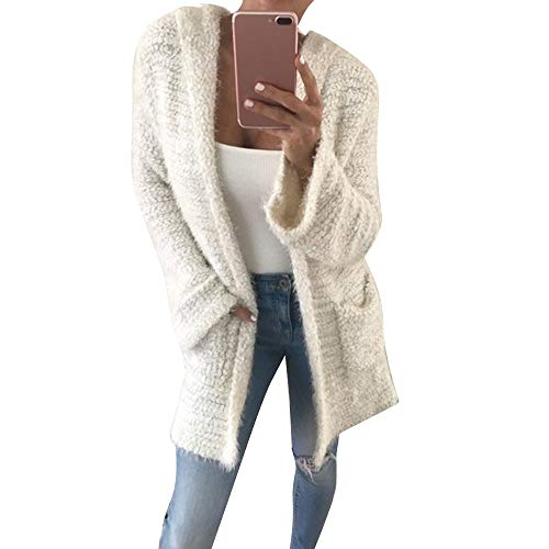 Damen Strickjacke Lang Cardigan Casual Strickmantel Frauen Winterjacke Mantel Jacke Trenchcoat Outerwear Mit Kapuze Hoodies Jacke Mit Weste Kapuzenpullover von Innerternet