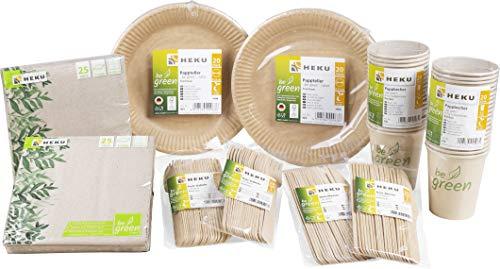 Heku 30011-02: Bio-Einweg-Set be Green mit Tellern, Messer, Gabeln, Servietten und Pappbechern, 210-teilig,