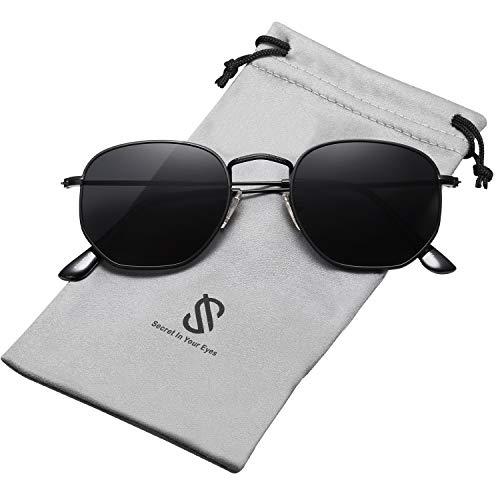 SOJOS Clásico Polígono Espejo Lentes UV Portección Unisex Gafas de Sol SJ1072 Marco Negro/Lente Gris