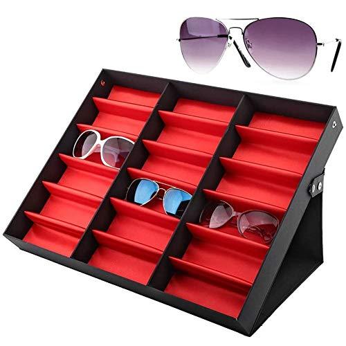 18 Slots Brillenkoker Zonnebril Opslag Horlogebox Brillen Accessoires Organizer Sieraden Opslagweergave met Inklapbare Standaard Lade 18,5 X 14,6 X 2,4 Inch (Rode Onderkant)