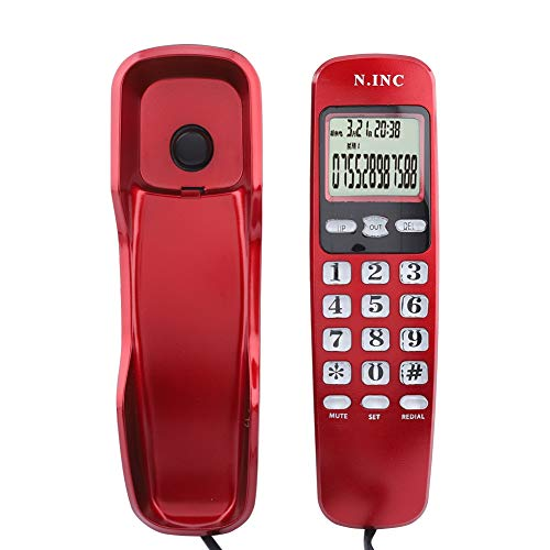 Tihebeyan Teléfono con Cable con botón de Escritorio FSK/DTMF Sistema de identificación de Llamadas Dobles Teléfono Fijo Teléfono con Cable con Pantalla LCD(Rojo)