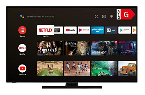 Hitachi U43KA6150 TV da 109 cm/43 pollici (Android 9.0 Smart TV con Prime Video/Netflix/YouTube, 4K UHD + HDR 10, Bluetooth, PVR-Ready, Triple-Tuner) [anno modello 2020] ...