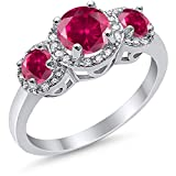 Blue Apple Co. Simulated Ruby CZ Size-8 3 Stone Halo Wedding Band Ring Round Simulated Cubic Zirconia 925 Sterling Silver