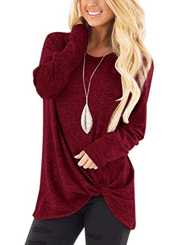 Women's Casual Long Sleeve Round Neck Loose Tunic Christmas T Shirt Tops Burgundy XL