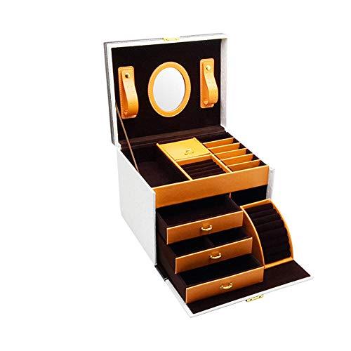 POMNEFE Caja de joyería, caja de almacenamiento de joyas, caja de joyería portátil multifuncional de gran capacidad, caja de almacenamiento de joyas y cosméticos para mujer