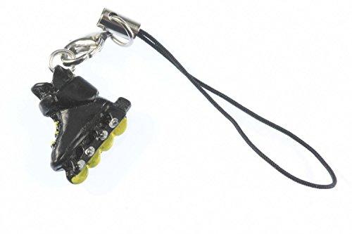 Miniblings Inlineskates Rollschuhe Handyanhänger Handyschmuck schwarz gelb
