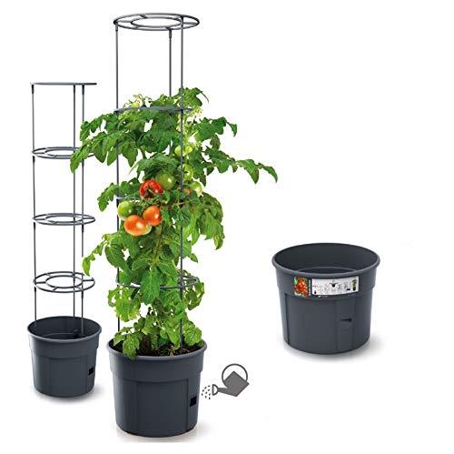 Blumentopf Tomatentopf Topf für Tomatenpflanzen 28L Tomatenzüchter Gesamthöhe 153cm Pflanzen-Aufzucht-Turm mit Rankhilfe Rangitter (Ø 400)