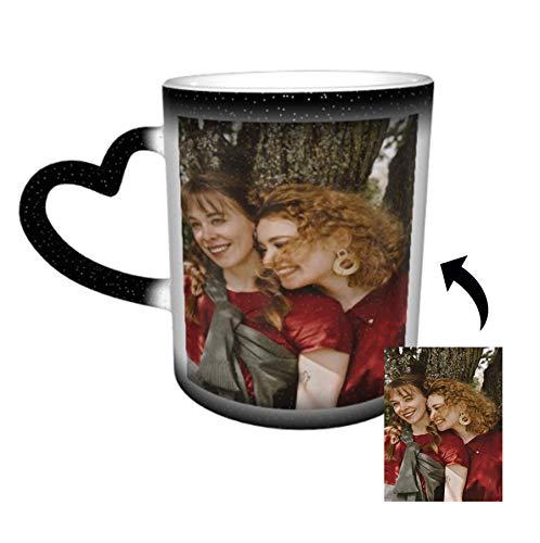 Benutzerdefinierte Foto Farbwechsel Kaffee Tasse, Personalisierte DIY-Druck Keramik Farbwechsel Tasse fügen Sie Ihre Fotos und Text Teebecher Wärmeempfindliche Teetasse für Geschenk