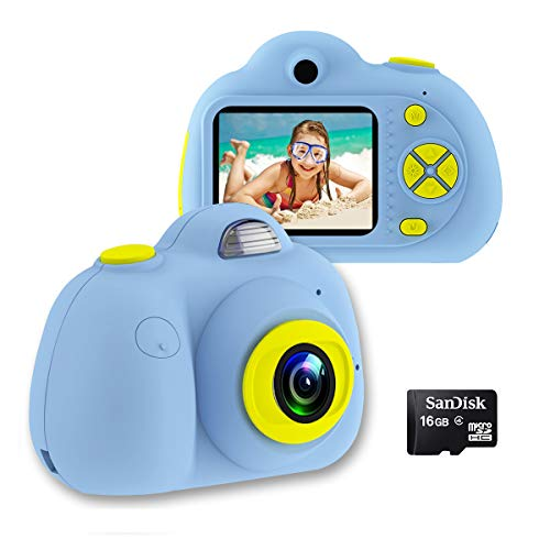 OXSII Kids Camera 8MP HD Video Camcorder Anti-Slip Compact Digital Camera Toy for Children Best Gifts for 3-8 Year Old Boys & Girls (16GB Memory Card Included) (Blue)