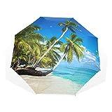 Stilvoller kompakter regenfester winddichter Regenschirm-Sonnenschirm für Männer u. Frauen Tropics Sea Palma Beach