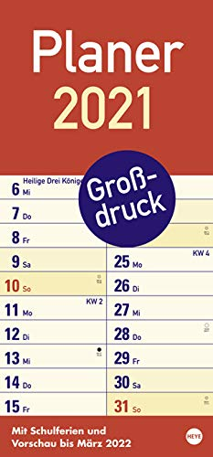 Planer Großdruck - Kalender 2021 - Heye-Verlag - Kalender mit extragroßer Schrift - 21 cm x 45 cm