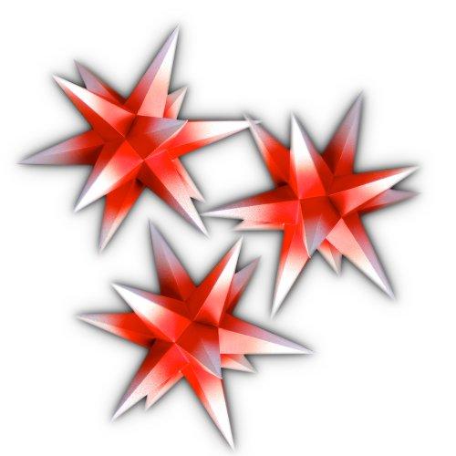 3er Set beleuchtete Sterne aus Papier, rot mit weißen Spitzen, 3d Weihnachtssterne fürs Fenster - Bockelwitzer Stern (Art.Nr.406) inkl. Netzteil mit 3-fach-Verteiler, Fenster-Clip und Distanz-Stab, Durchmesser 19 cm, Papier, komplett handgefertigt, für den Innenbereich