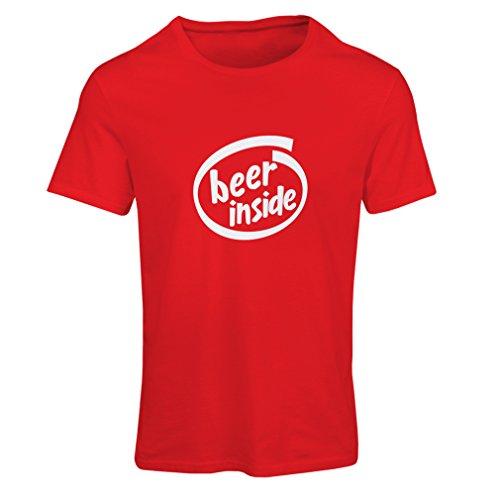 Frauen T-Shirt Bier innen - für Bierliebhaber, lustiges Logo, humorvolles Geschenk, Kneipe, Bar, Party-Kleidung (XX-Large Rot Weiß)