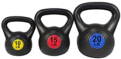 BalanceFrom Wide Grip Kettlebell Exercise Fitness Weight Set, Includes 10 lbs, 15 lbs, 20 lbs by BalanceFrom