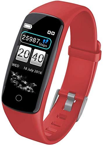 JSL Pulsera inteligente con monitor de actividad física, pantalla a color, larga en espera, impermeable, Bluetooth, podómetro, pulsera de actividad con monitor de ritmo cardíaco