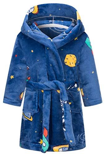 Kinder Bademantel Mit Kapuze Animal Print Morgenmantel Weiche Flanell Mit Kapuze Bademantel Kinder Mit Kapuze Nachtwäsche Robe(Astronaut,3-4T)