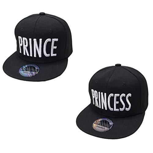 J26 Prince & Princess Brother & Sister Snapback Set USA Cap Kappe Basecap Mütze Trucker Cappy Kult Partner Look Geschwiter (Prince & Princess Schwarz Set)