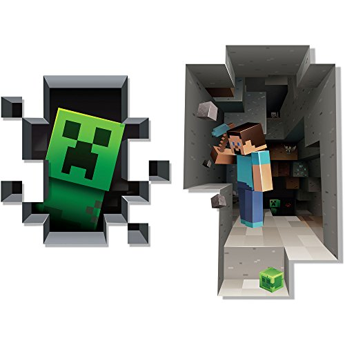 JINX Minecraft Wall Cling Decal Set (Creeper, Steve)