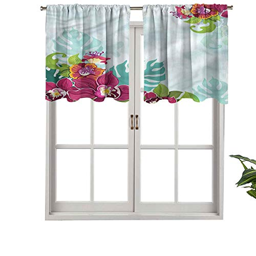 Hiiiman Sunshine Blockout Valance Curtain Tropical Flourishing Garland, Set of 1, 52'x18' for Indoor Living Dining Room