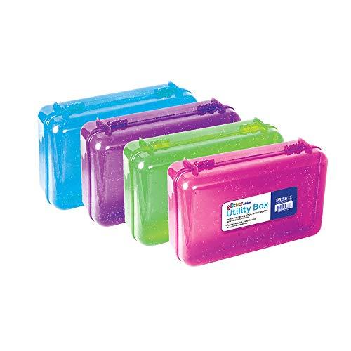 BAZIC Plastic Pencil Case Utility Storage Box, Glitter Bright Color, Multi Purpose Organizer for Pens Pencils Student Kids School Supplies, 4-Pack