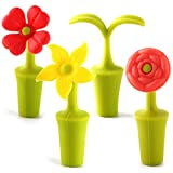 4 Pieces Flower Wine Bottle Stoppers, Reusable Silicone Wine Stopper Bottle Sealers, Bar Tools for Wine Plug Wine & Beverage Bottle