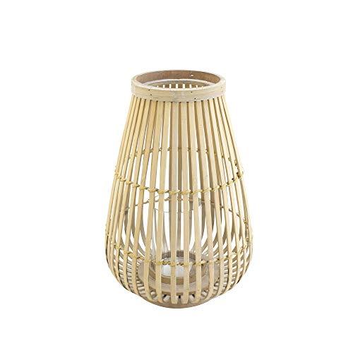 connox Collection Bambus-Rattan-Windlicht geeignet als Deko für Wohnung, Garten, Terrasse und Balkon. Mittlere Bambus Laterne mit Kerzen-Glas 36 cm, Natur