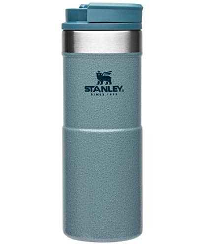 Stanley NeverLeak Travel Mug .35L / 12OZ Hammertone Ice – Leakproof - Tumbler for Coffee, Tea & Water - BPA FREE - Stainless-Steel Thermo Cup - Rotating lid covers drink - Dishwasher Safe