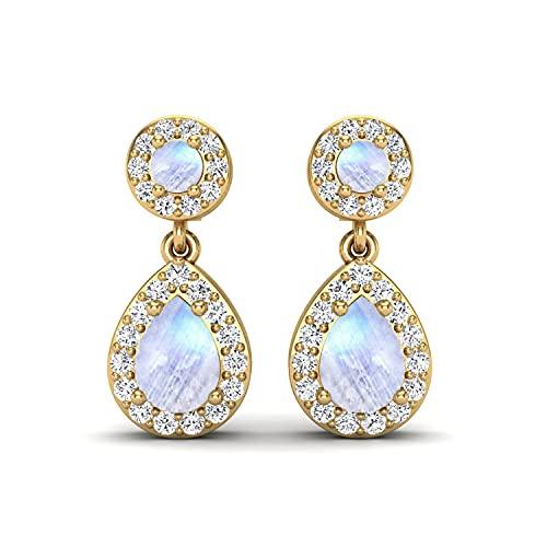Shine Jewel 2.2 CT Rainbow Moonstone Pendientes colgantes con CZ 925 Regalo de joyería nupcial de plata esterlina para mujeres (Plata chapada en oro amarillo)