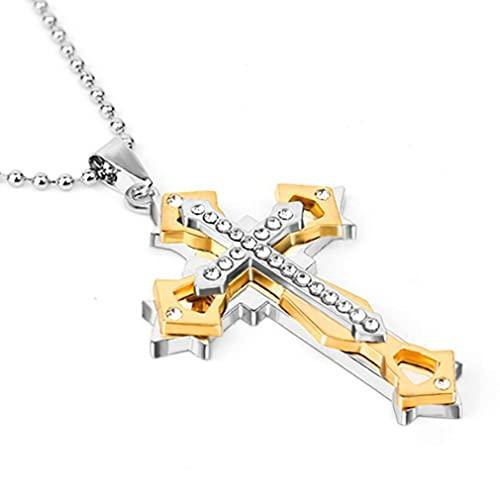 Modieuze Multi-layer Cross Chain Hanger Ketting Voor Mannen En Vrouwen Eenvoudige Ketting Mannen Ketting Sieraden Gift Goud 50cm