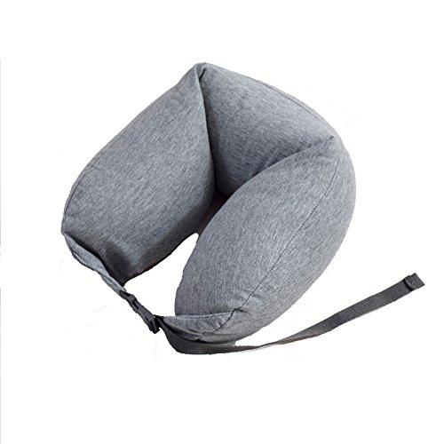 Mengshen ネックピロー キャンプ枕 トラベルピロー ランバーサポート 低反発 腰クッション 旅行用枕 クッション 携帯便利 洗えるカバー KJ13 Gray