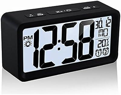 Shuangklei Reloj Alarma Temperatura Lcd Luminoso Doble Visualización De Fecha Reloj Electrónico Digital De Sobremesa Snooze
