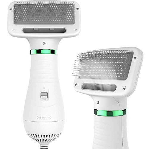 LIVEKEY Pet Hair Dryer, 2 in 1 Pet Grooming Hair Dryer with Slicker Brush, Home Dog Hair Dryer with Adjustable 2 Temperatures Settings, for Small and Medium Dogs and Cats