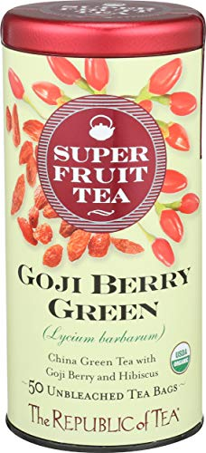 The Republic Of Tea Organic Goji Berry Green Superfruit Tea, Tea Bag Tin, 50 Count