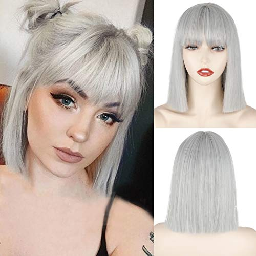 MERISIHAIR Short Silver Gray Bob Wigs with Bangs,Short Straight Bob Silver Grey Wigs for Women,Natural Looking Cosplay Daily Party Wig
