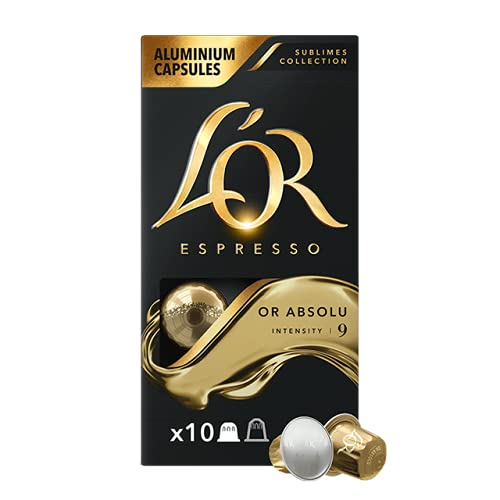 L'OR Espresso Coffee Or Absolut - Intensity 9 - 100 Aluminium Capsules Compatible with Nespresso Machines (10x10 Pods Pack)