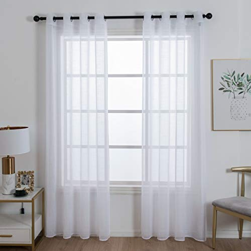HomeyHo Draperies for Sliding Glass Doors Sheer Curtains Grommet Top Sheer Curtains for Bedroom 2 Panels Sheer Curtain Panels with Grommets Draperies for Dining Room, 55 x 86 Inch, White